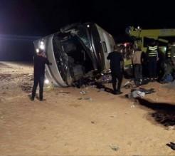 بالصور...وفيات واصابات بتدهور حافلة اردنيين في تبوك