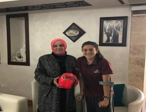 أسرة مدارس النظم الحديثة تهنىء طالبتها لاعبة المنتخب الوطني   جنى أبو غوش