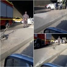 بالصور ...إصابة 4 أشخاص اثر حادث تدهور اسفل جسر ابو علندا في عمان