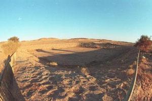 هبوط قطعة ارض محاذية لمنازل ببلدة الشهابية غرب الكرك