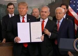 ترامب يوقع قرار الاعتراف بسيادة إسرائيل على الجولان المحتل