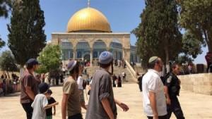 اقتحامات واسعة الان للمسجد الافصى من قبل عصابات المستوطنين و أداء صلوات تلمودية فيه، يقودها وزير الزراعة في حكومة الاحتلال