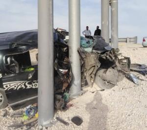 بالصور.. وفاة شخصين واصابة آخر اثر حادث تدهور باص في عمان