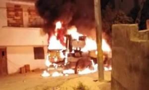 احراق مركبة بالقرب من منزل المغدورين في الشونة