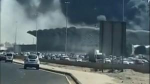 حريق ضخم بمحطة قطار الحرمين بجدة