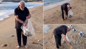 بالفيديو... رئيس الوزراء الهندي يجمع القمامة من شاطئ يستضيف فيه الرئيس الصيني