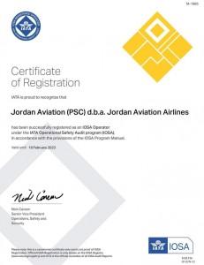 للمره الثامنه الاردنيه للطيران تجدد شهادة الايوسا  العالميه دون تحفظات
