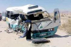 5 مصابين بحادث تدهور باص على طريق الكرك القطرانه
