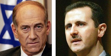 أولمرت اتصل هاتفياً بالأسد وأردوغان قبل حرب غزة